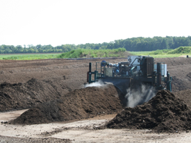Compost is Placed in Windrows