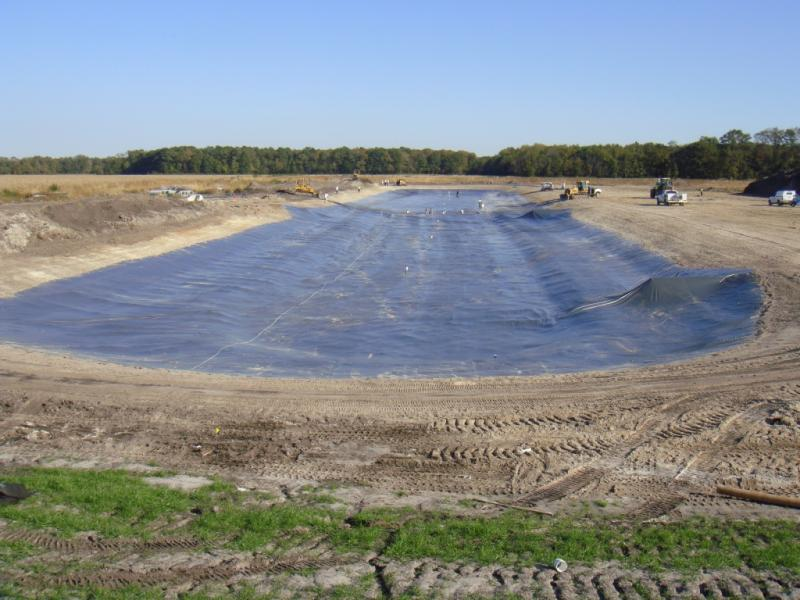 Our Stormwater Pond is lined and water is recycled back through the compost process